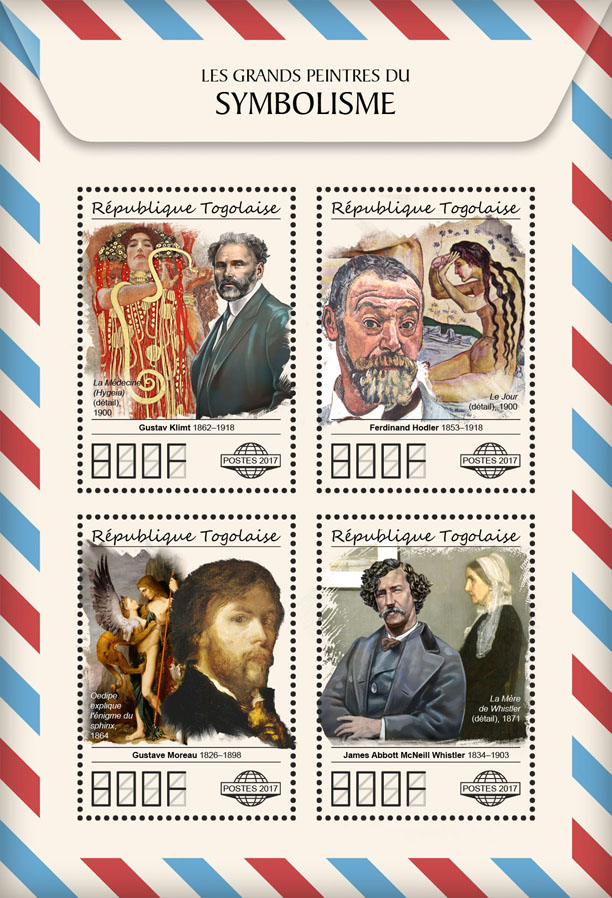 Great painters of Symbolism - Issue of Togo postage stamps