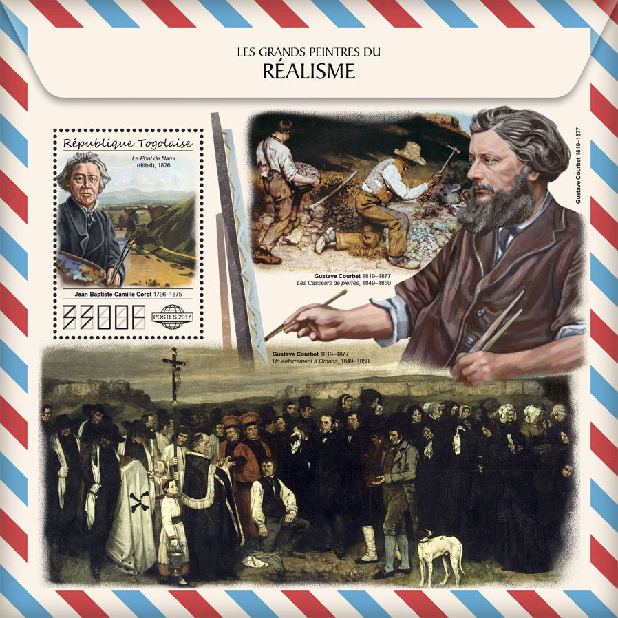 Great painters of Realism - Issue of Togo postage stamps