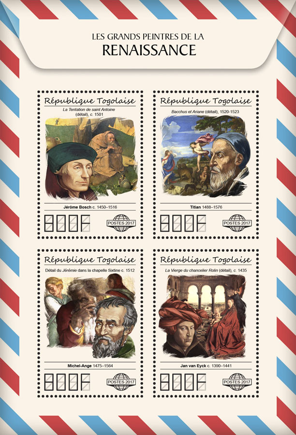 Great painters of Renaissance - Issue of Togo postage stamps