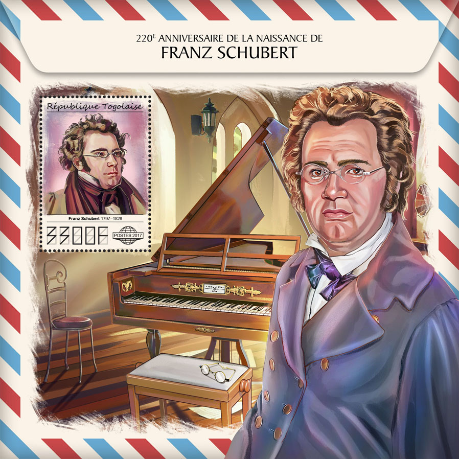 Franz Schubert  - Issue of Togo postage stamps