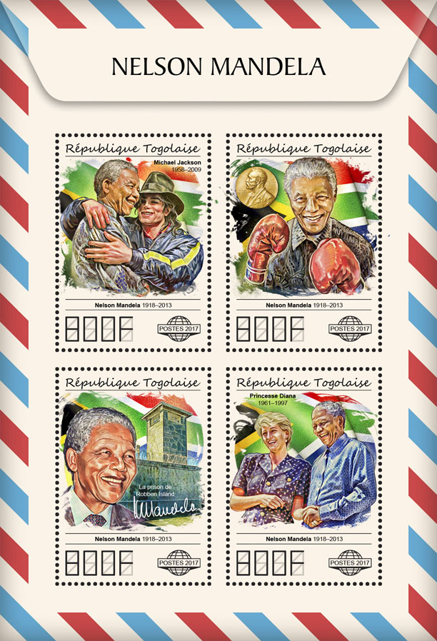 Nelson Mandela - Issue of Togo postage stamps