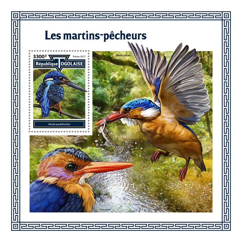 Kingfishers - Issue of Togo postage stamps