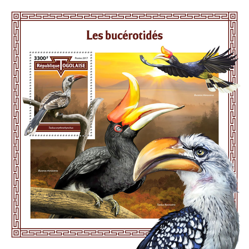 Hornbills - Issue of Togo postage stamps