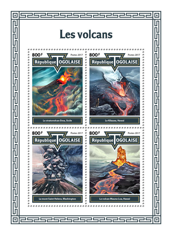 Volcanoes - Issue of Togo postage stamps