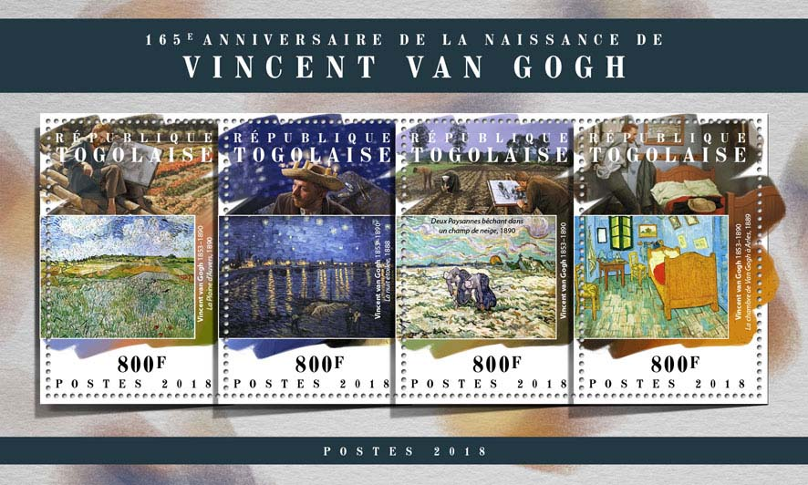 Vincent van Gogh - Issue of Togo postage stamps