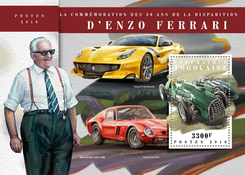 Enzo Ferrari - Issue of Togo postage stamps