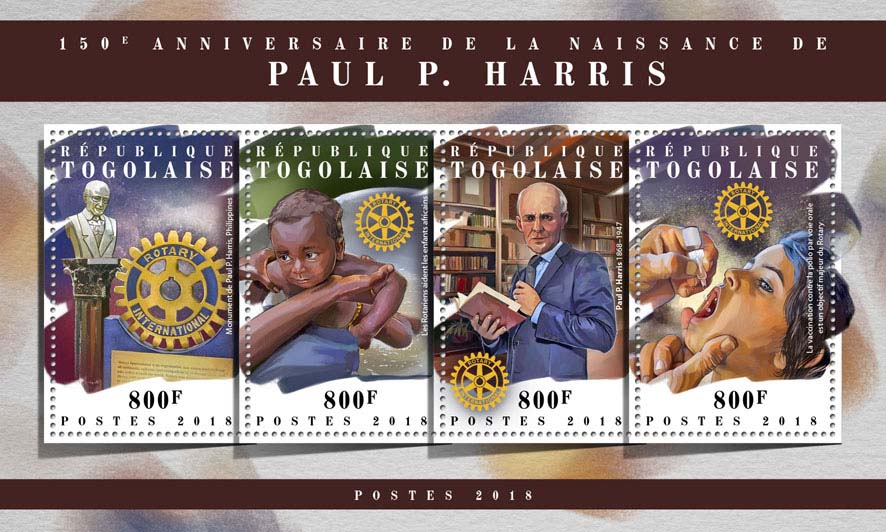 Paul P. Harris - Issue of Togo postage stamps