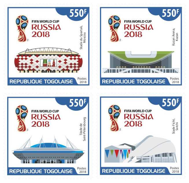 FIFA World Cup Russia 2018 - Issue of Togo postage stamps