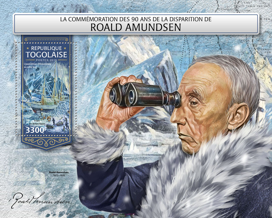 Roald Amundsen - Issue of Togo postage stamps