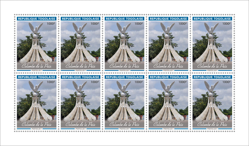 Dove of peace - Issue of Togo postage stamps