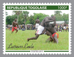 Evala wrestlers - Issue of Togo postage stamps