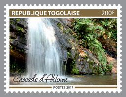 Aklowa Waterfall - Issue of Togo postage stamps