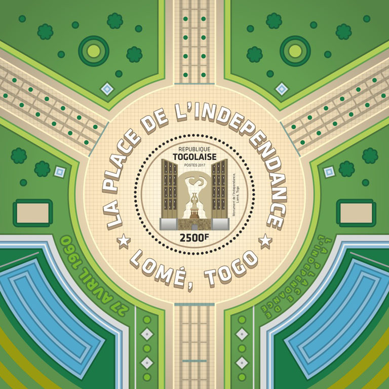 Independence square - Issue of Togo postage stamps