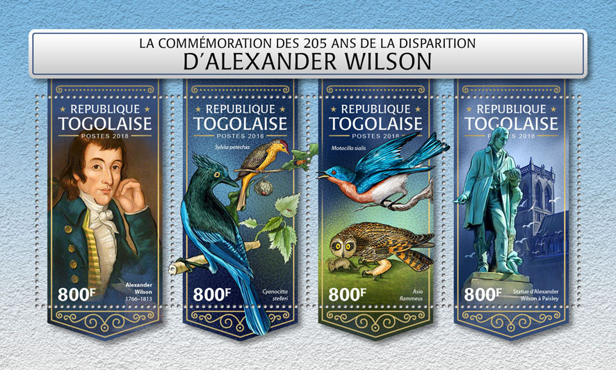 Alexander Wilson - Issue of Togo postage stamps