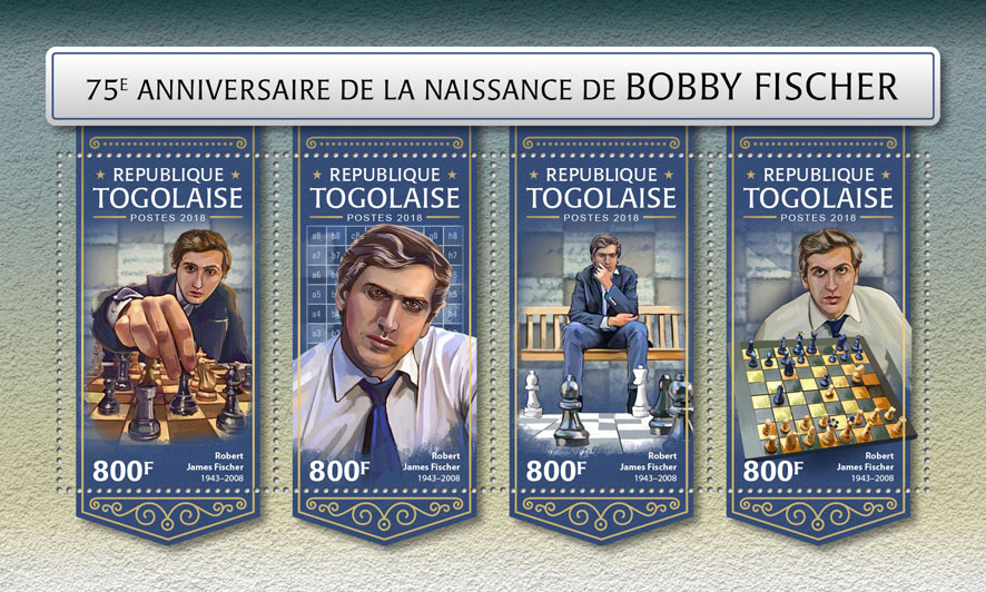 Bobby Fischer - Issue of Togo postage stamps