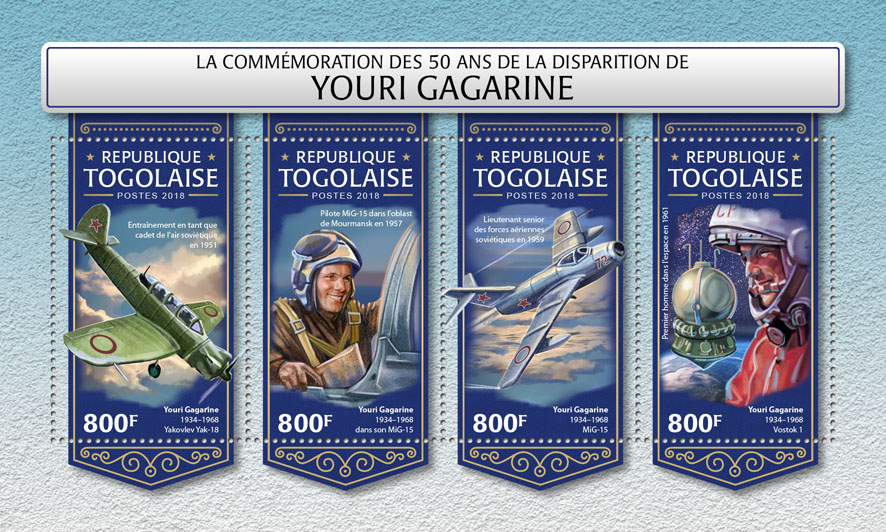 Yuri Gagarin  - Issue of Togo postage stamps