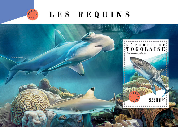 Sharks - Issue of Togo postage stamps