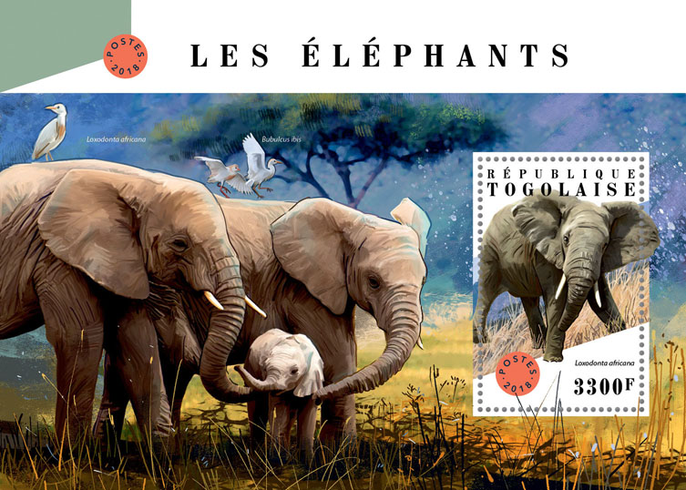 Elephants - Issue of Togo postage stamps