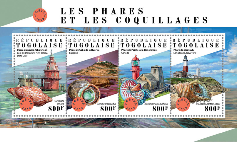 Lighthouses and shells - Issue of Togo postage stamps