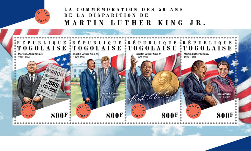 Martin Luther King Jr. - Issue of Togo postage stamps