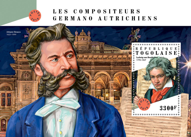 German-Austrian composers  - Issue of Togo postage stamps