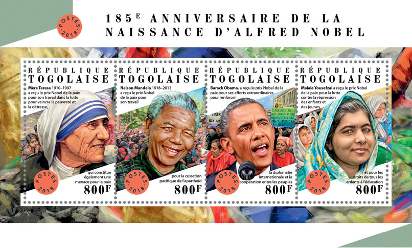 Alfred Nobel  - Issue of Togo postage stamps