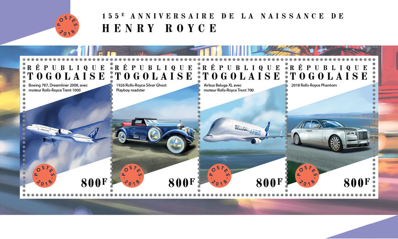 Henry Royce - Issue of Togo postage stamps