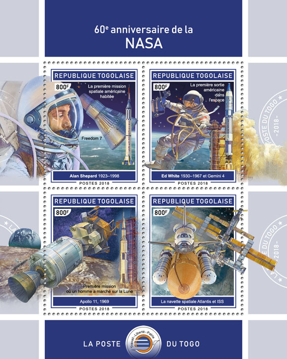 NASA (II) - Issue of Togo postage stamps