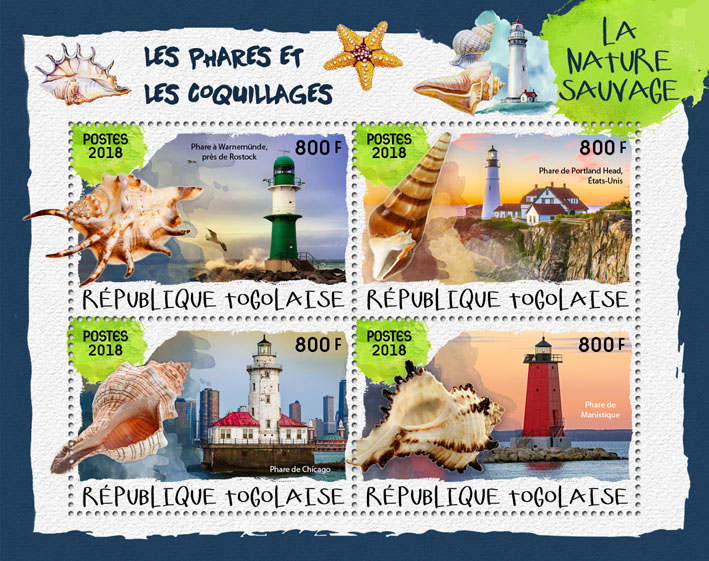 Lighthouses and shells (I) - Issue of Togo postage stamps