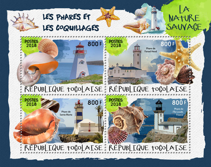 Lighthouses and shells (II) - Issue of Togo postage stamps