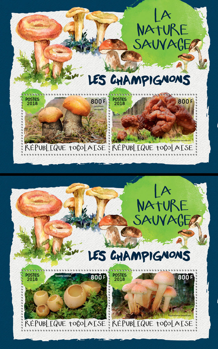 Mushrooms (I) - Issue of Togo postage stamps
