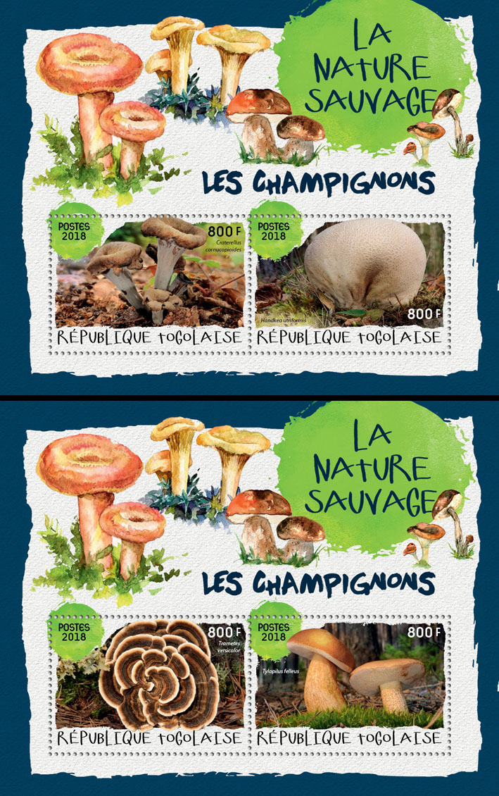 Mushrooms (II) - Issue of Togo postage stamps