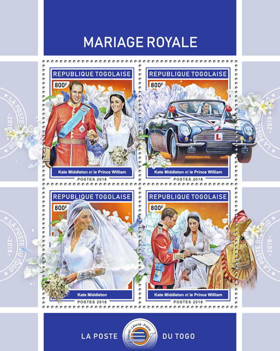Royal wedding (I) - Issue of Togo postage stamps