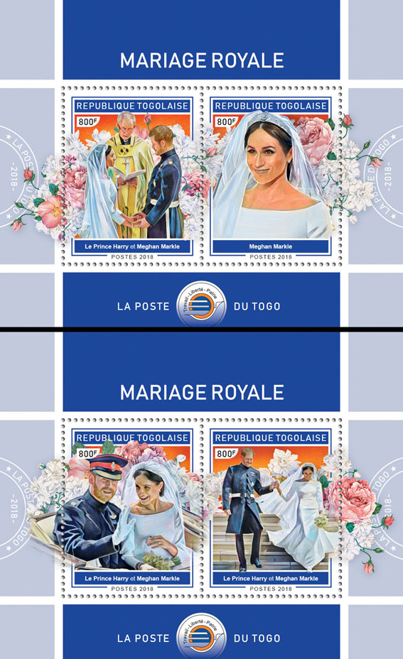 Royal wedding (II) - Issue of Togo postage stamps