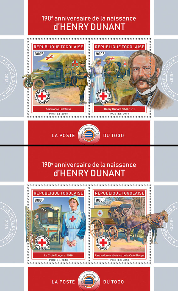 Henry Dunant (I) - Issue of Togo postage stamps