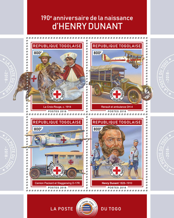 Henry Dunant (II) - Issue of Togo postage stamps