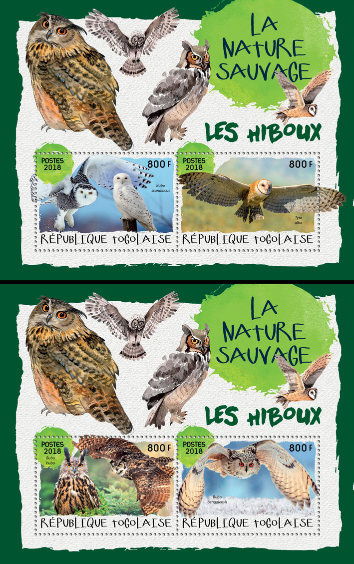 Owls (I) - Issue of Togo postage stamps