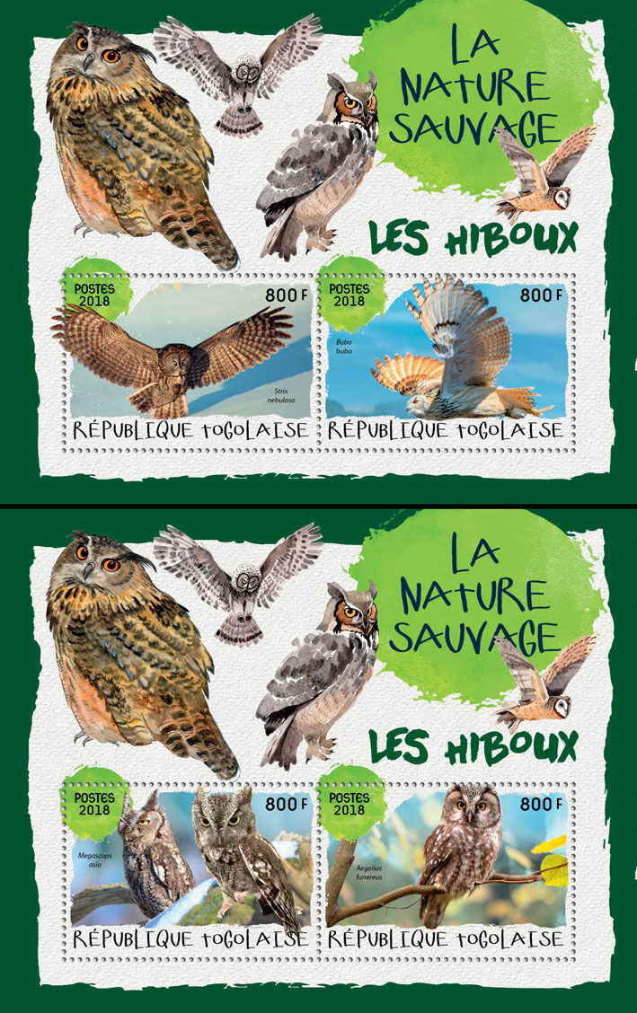 Owls (II) - Issue of Togo postage stamps