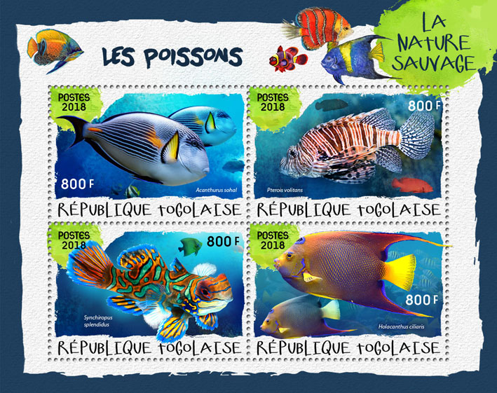 Fishes (I) - Issue of Togo postage stamps
