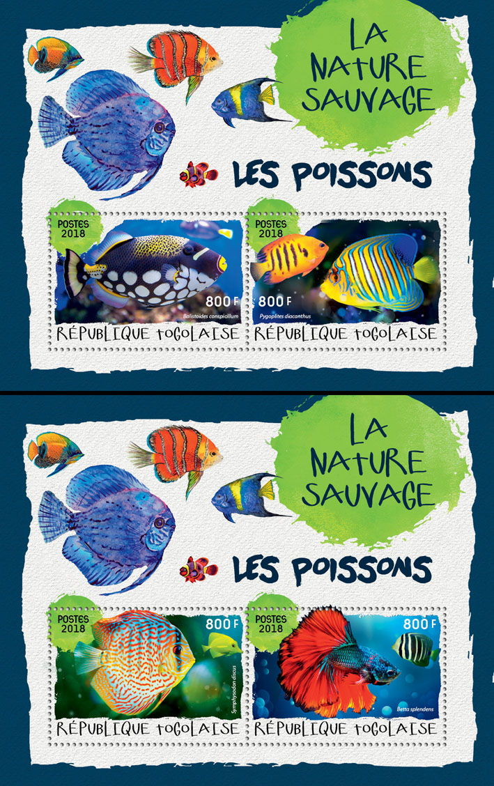 Fishes (II) - Issue of Togo postage stamps