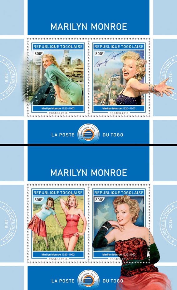 Marilyn Monroe(II) - Issue of Togo postage stamps