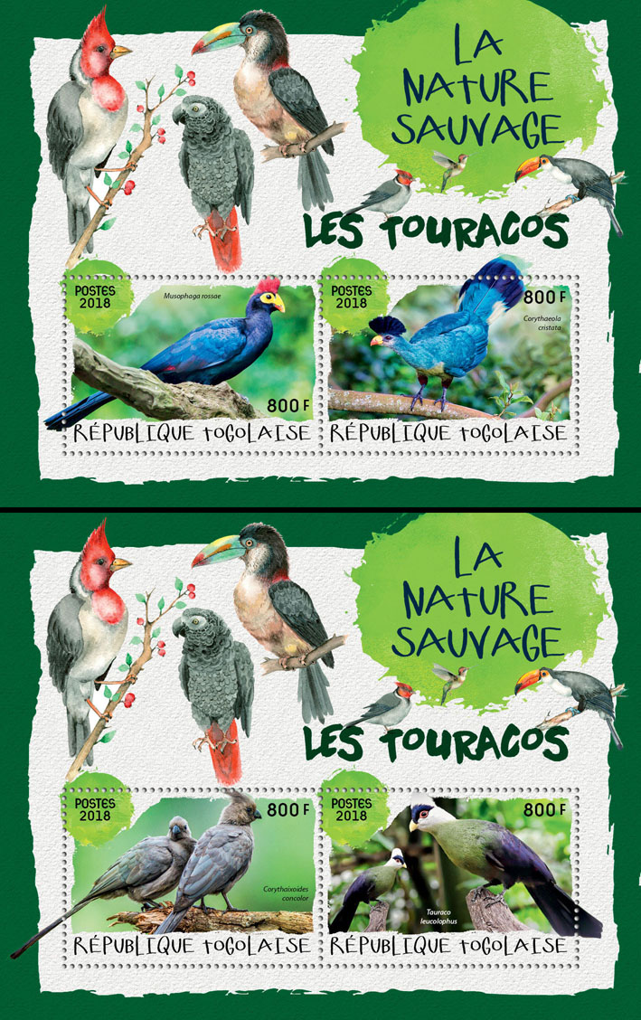 Toucans (II) - Issue of Togo postage stamps