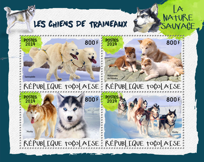 Sledge dogs - Issue of Togo postage stamps