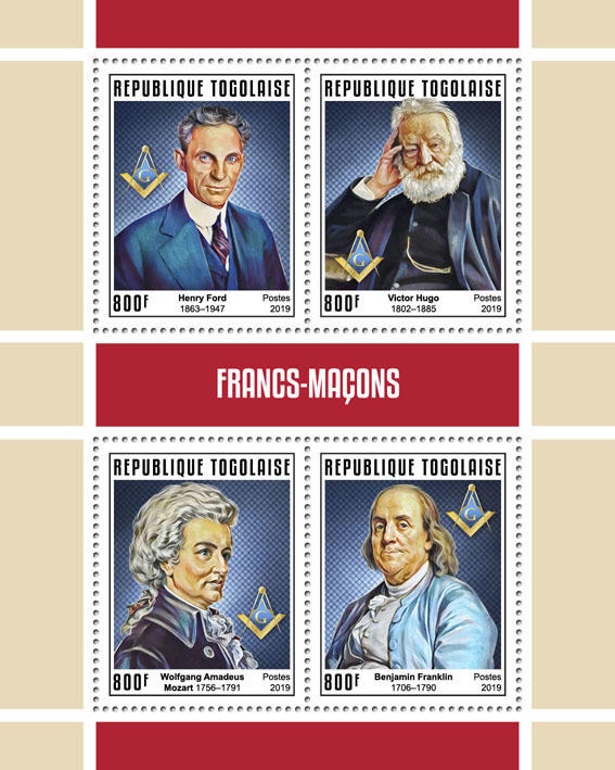 Freemasons - Issue of Togo postage stamps
