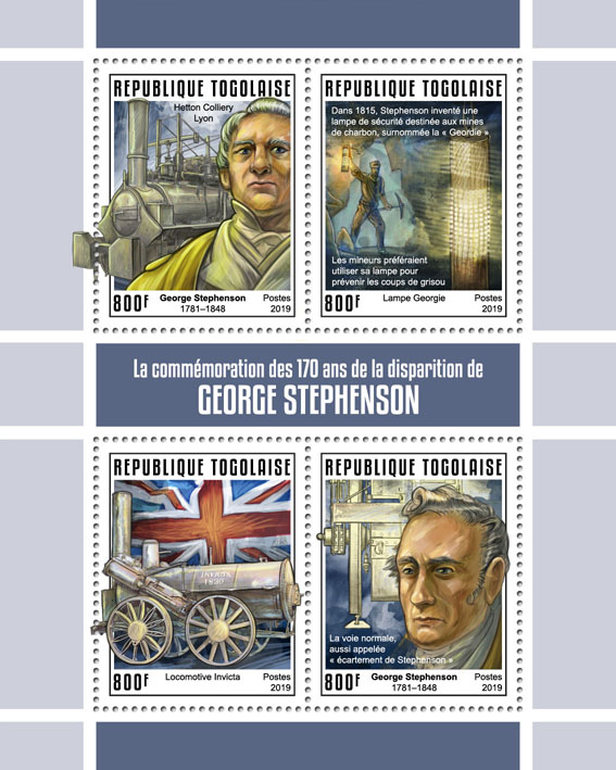 George Stephenson - Issue of Togo postage stamps