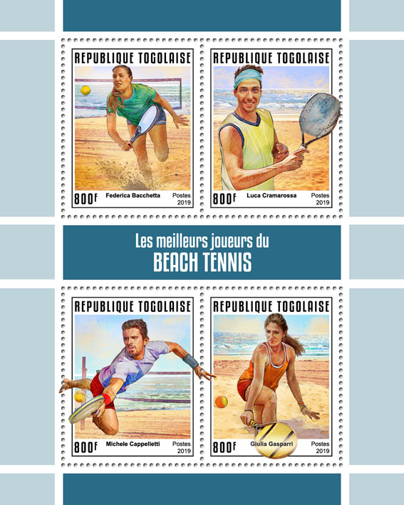 The best players of beach tennis - Issue of Togo postage stamps