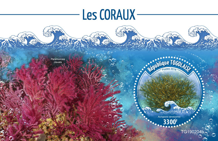 Corals - Issue of Togo postage stamps