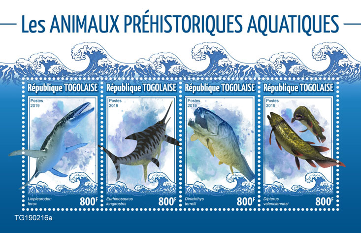 Prehistoric water animals - Issue of Togo postage stamps