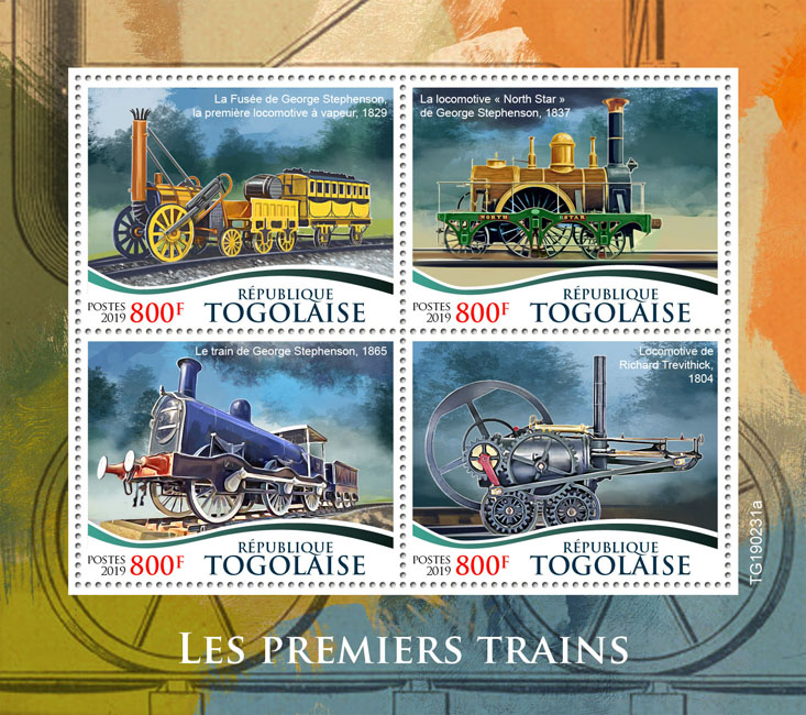 First trains - Issue of Togo postage stamps