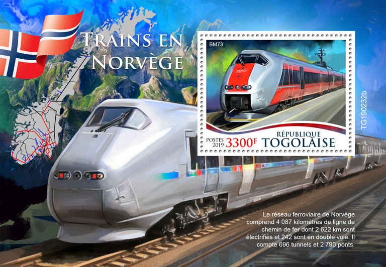 Norwegian trains - Issue of Togo postage stamps